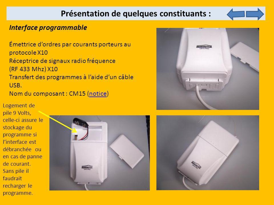 Présentation de quelques constituants : Interface programmable Émettrice dordres par courants porteurs au protocole X10 Réceptrice de signaux radio fr