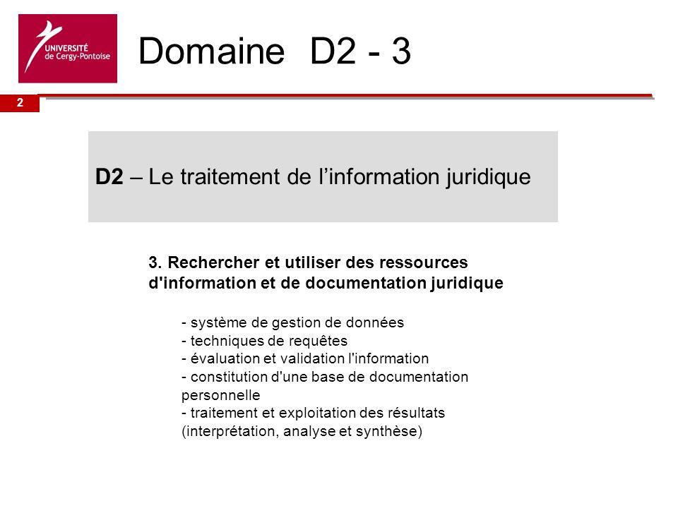 Université de Domaine D2 - 3 3.