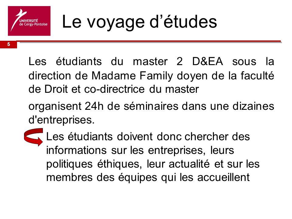 Université de Le voyage détudes Les étudiants du master 2 D&EA sous la direction de Madame Family doyen de la faculté de Droit et co-directrice du master organisent 24h de séminaires dans une dizaines d entreprises.