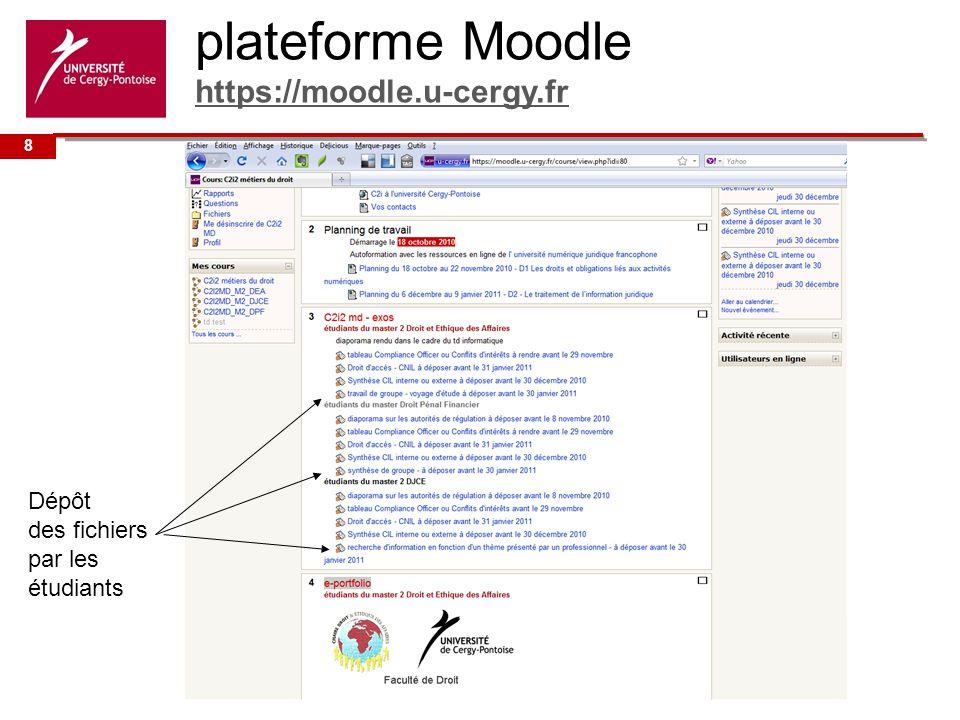 Université de plateforme Moodle https://moodle.u-cergy.fr https://moodle.u-cergy.fr Dépôt des fichiers par les étudiants 8