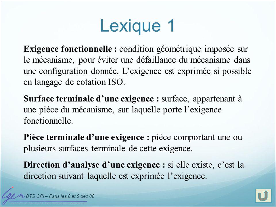 BTS CPI – Paris les 8 et 9 déc 08 Lexique 1 Exigence fonctionnelle : condition géométrique imposée sur le mécanisme, pour éviter une défaillance du mé