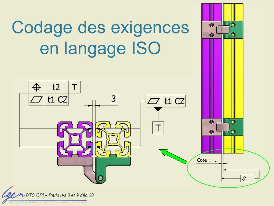 BTS CPI – Paris les 8 et 9 déc 08 Codage des exigences en langage ISO