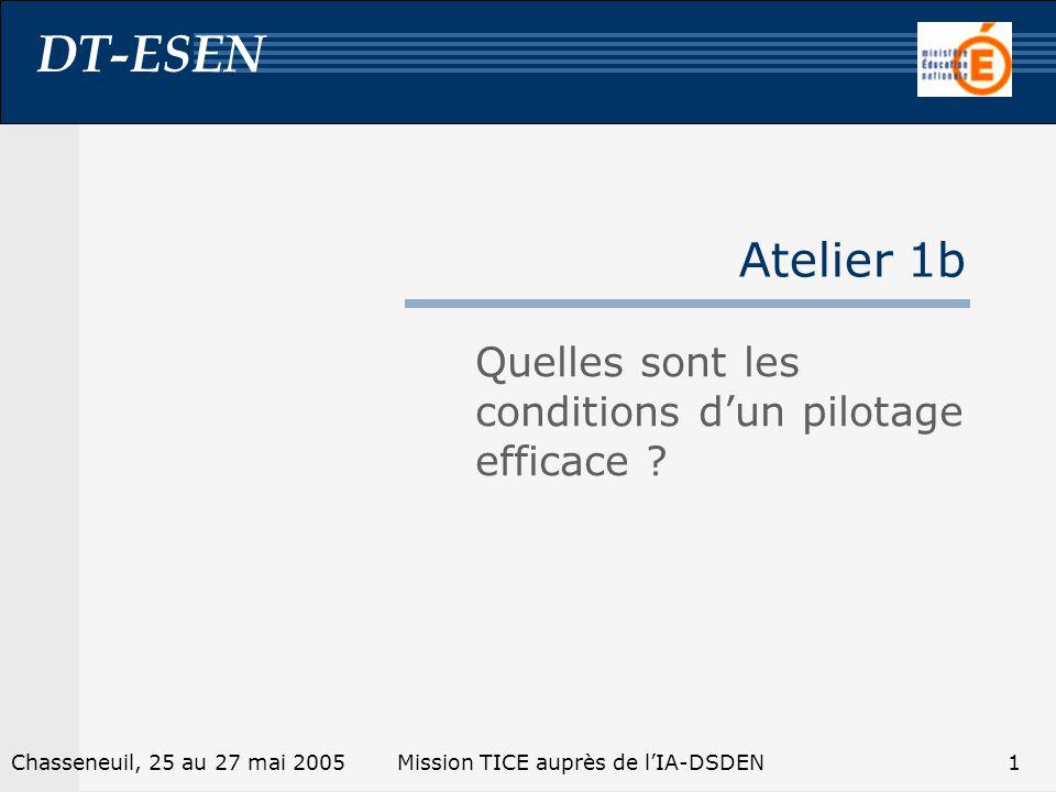 DT-ESEN 1Chasseneuil, 25 au 27 mai 2005Mission TICE auprès de lIA-DSDEN Atelier 1b Quelles sont les conditions dun pilotage efficace ?