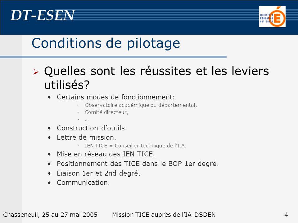 DT-ESEN 4Chasseneuil, 25 au 27 mai 2005Mission TICE auprès de lIA-DSDEN Conditions de pilotage Quelles sont les réussites et les leviers utilisés? Cer