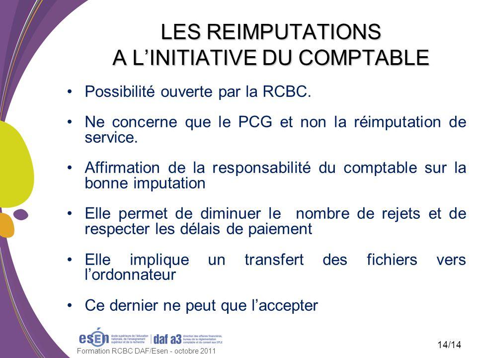 Possibilité ouverte par la RCBC.Ne concerne que le PCG et non la réimputation de service.