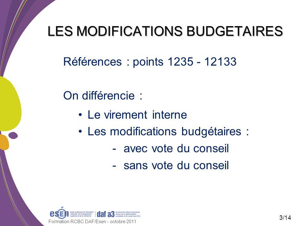 Références : points 1235 - 12133 On différencie : Le virement interne Les modifications budgétaires : -avec vote du conseil -sans vote du conseil Formation RCBC DAF/Esen - octobre 2011 LES MODIFICATIONS BUDGETAIRES 3/14