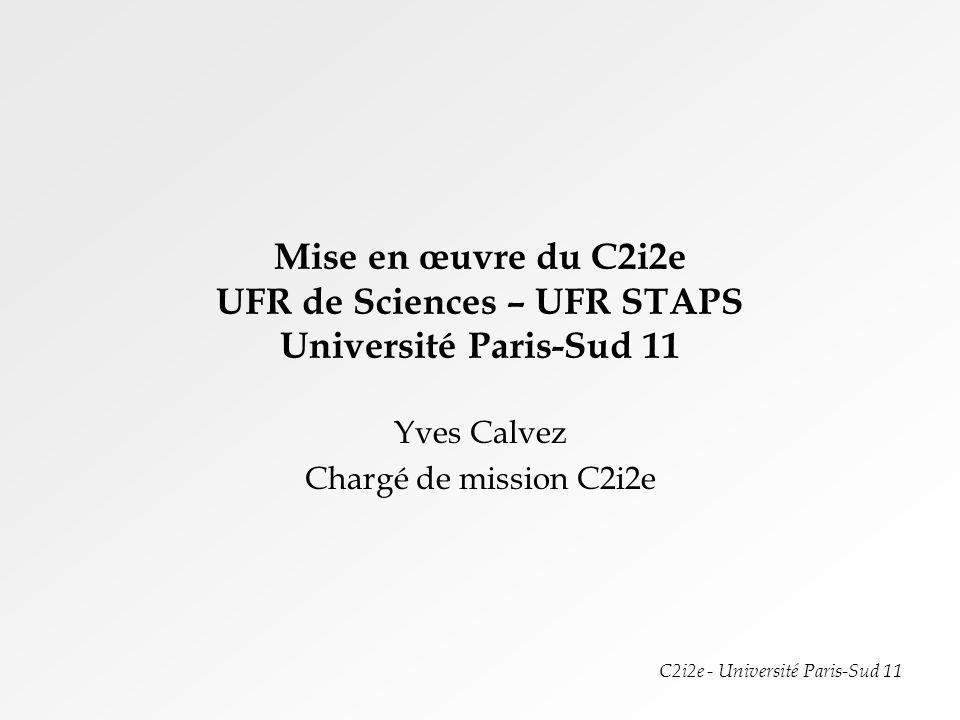 C2i2e - Université Paris-Sud 11 Contextualisation Contexte C2i VP CEVU – Chargée de mission – 2 correspondants C2i niveau 2 C2i2e : UFR STAPS et UFR de Sciences Contexte C2i2e Maquettes Enseignements existants ou prévus Réunions de travail Expérience C2i niveau 1 Référentiel Documents daccompagnement