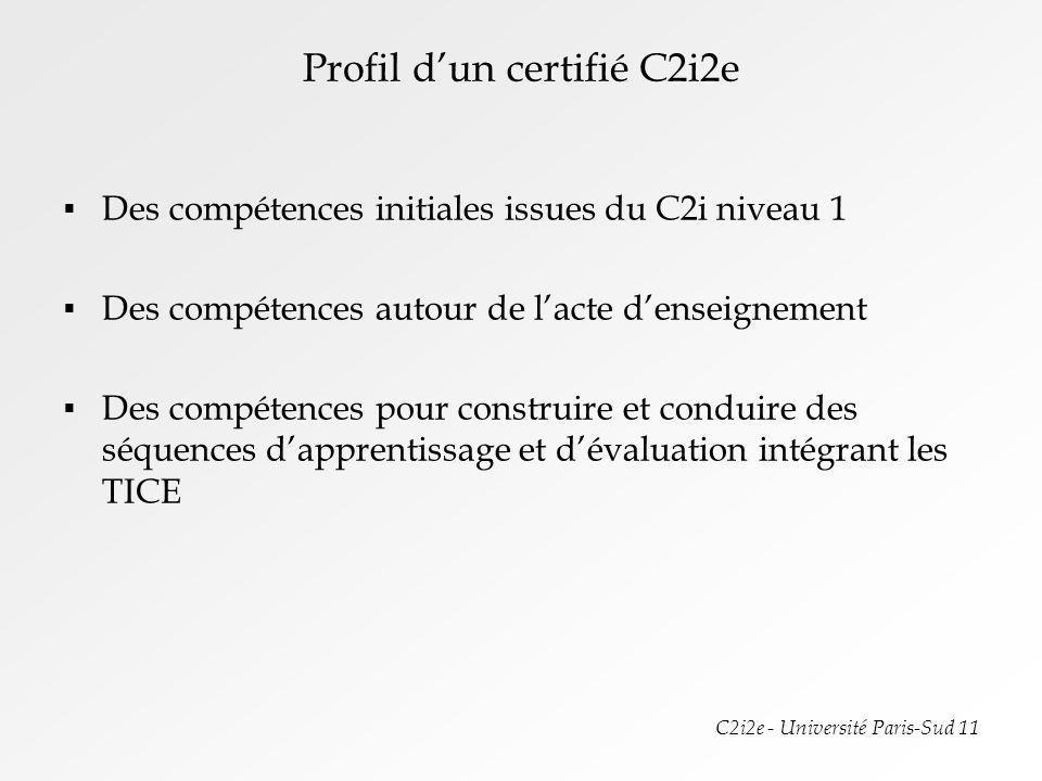 C2i2e - Université Paris-Sud 11 Plan de formation pour une 1 ère mise en œuvre Thématique 0 : Mise à niveau C2i niveau 1 – 6 à 8h sans évaluation Thématique 1 : Lenvironnement numérique dans létablissement scolaire et en dehors - Les ressources (4h TD + stage) Thématique 2 : Le droit du numérique – La sécurité informatique (2 x 2h CM) Thématique 3 : Mener des projets collaboratifs (6h TD + travail à distance + stage) Thématique 4 : Concevoir des situations pédagogiques intégrant les TICE (Stage et 15h TD disciplinaires) Thématique 5 : Mise en œuvre pédagogique (stage et TD – préparation et suivi de stage – Disciplinaire et degré denseignement – 10h TD) Organisation