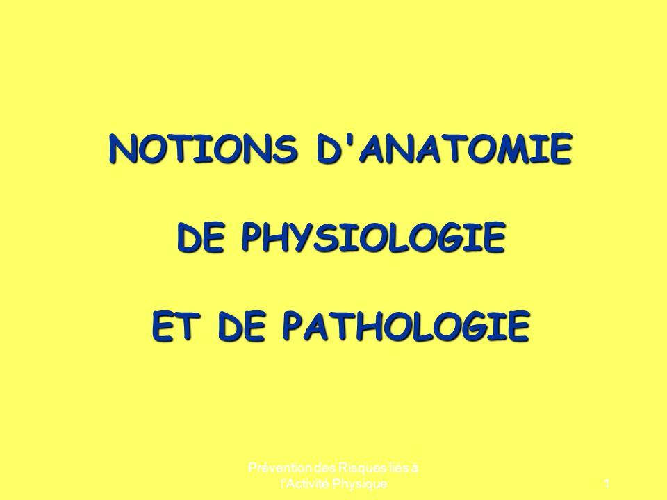 Prévention des Risques liés à lActivité Physique1 NOTIONS D'ANATOMIE DE PHYSIOLOGIE ET DE PATHOLOGIE