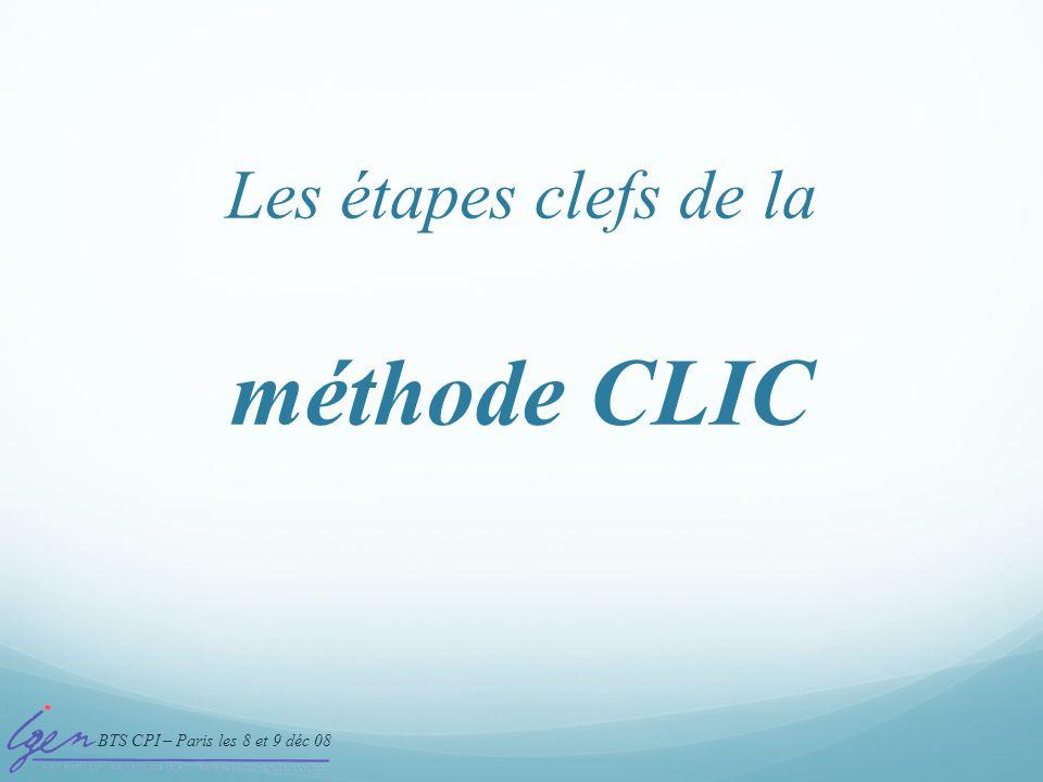 BTS CPI – Paris les 8 et 9 déc 08 méthode CLIC Les étapes clefs de la
