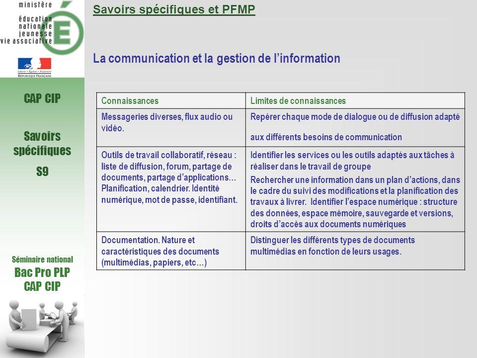 Séminaire national Bac Pro PLP CAP CIP Savoirs spécifiques S9 Savoirs spécifiques et PFMP La communication et la gestion de linformation Connaissances