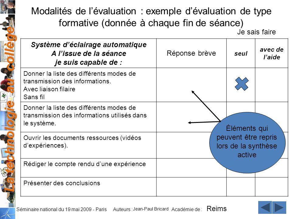 La technologie au collège Auteurs : Académie de : Séminaire national du 19 mai 2009 - Paris Modalités de lévaluation : exemple dévaluation de type for