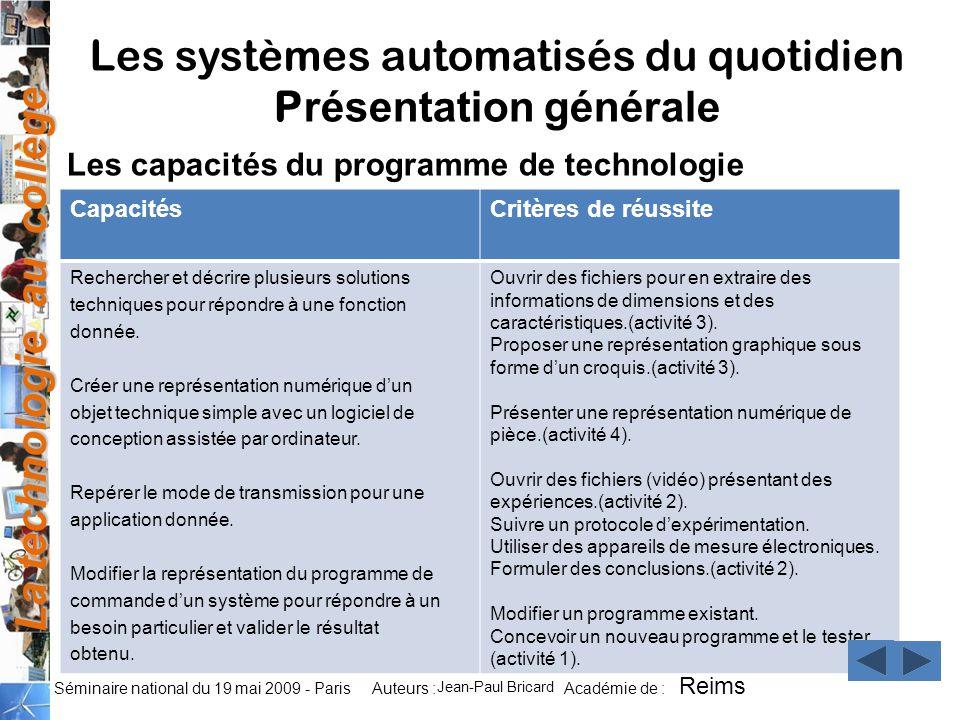 La technologie au collège Auteurs : Académie de : Séminaire national du 19 mai 2009 - Paris CapacitésCritères de réussite Rechercher et décrire plusie
