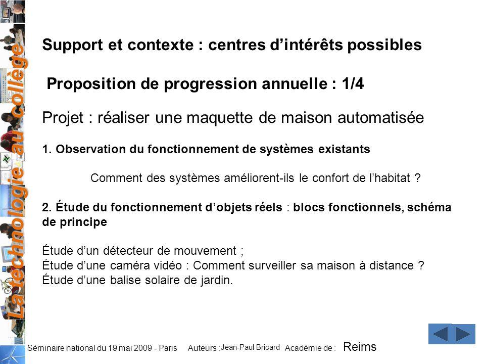 La technologie au collège Auteurs : Académie de : Séminaire national du 19 mai 2009 - Paris Support et contexte : centres dintérêts possibles Proposit