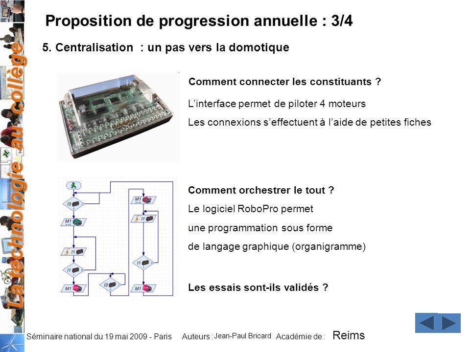 La technologie au collège Auteurs : Académie de : Séminaire national du 19 mai 2009 - Paris Comment connecter les constituants ? Comment orchestrer le