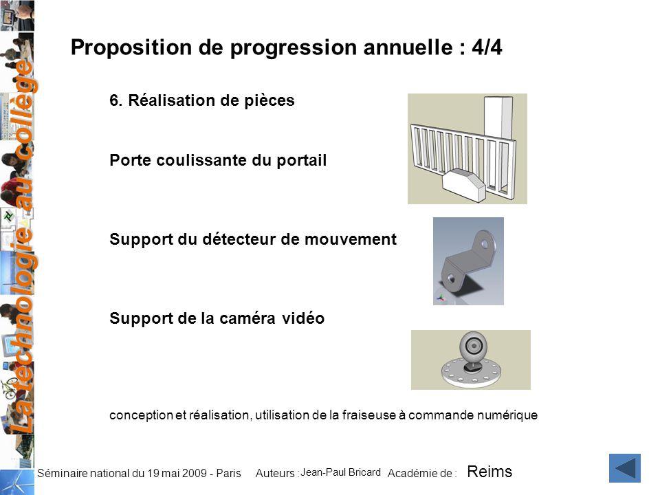 La technologie au collège Auteurs : Académie de : Séminaire national du 19 mai 2009 - Paris 6.