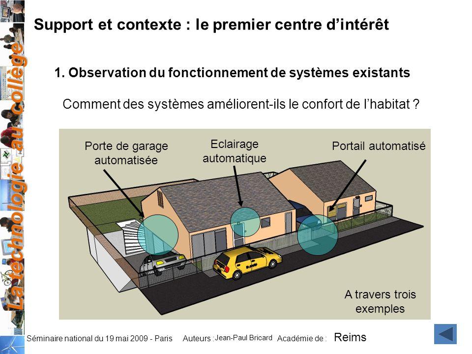 La technologie au collège Auteurs : Académie de : Séminaire national du 19 mai 2009 - Paris Support et contexte : le premier centre dintérêt 1. Observ