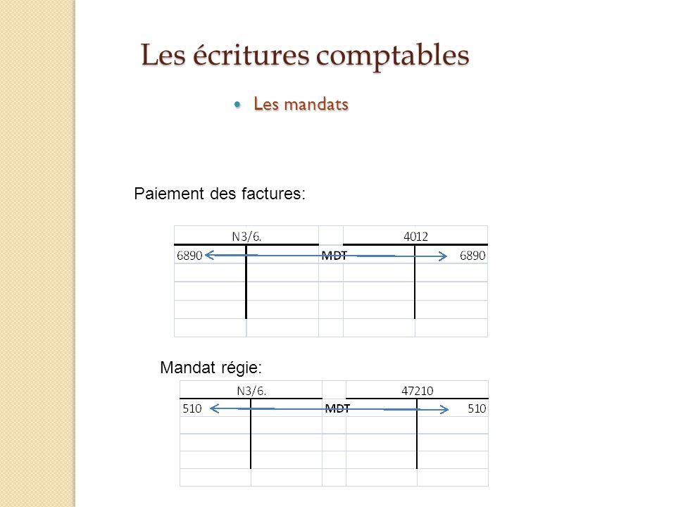 Les écritures comptables Les mandats Les mandats Paiement des factures: Mandat régie: