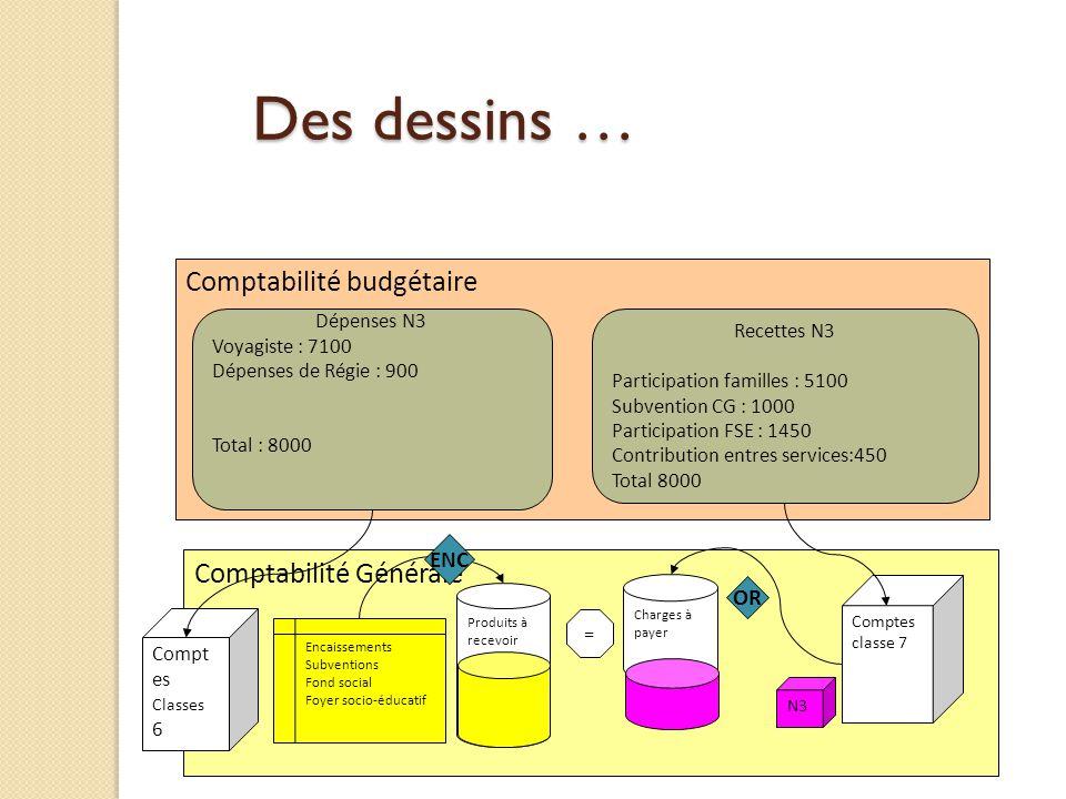 Des dessins … Comptabilité Générale Comptabilité budgétaire Dépenses N3 Voyagiste : 7100 Dépenses de Régie : 900 Total : 8000 Recettes N3 Participatio