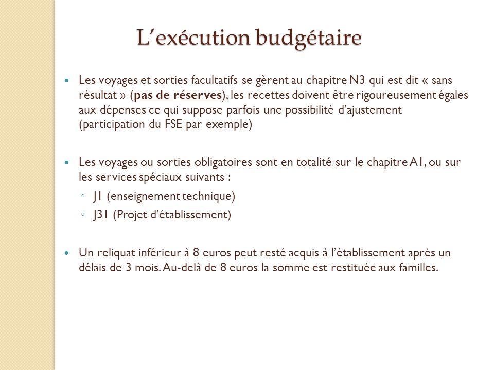 Lexécution budgétaire Les voyages et sorties facultatifs se gèrent au chapitre N3 qui est dit « sans résultat » (pas de réserves), les recettes doiven