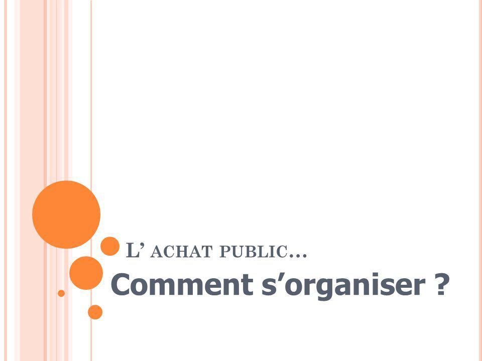 L ACHAT PUBLIC … Comment sorganiser ?
