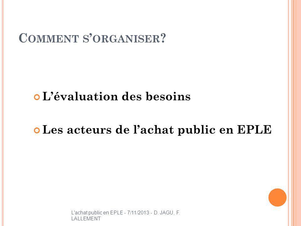 C OMMENT S ORGANISER ? Lévaluation des besoins Les acteurs de lachat public en EPLE L'achat public en EPLE - 7/11/2013 - D. JAGU, F. LALLEMENT