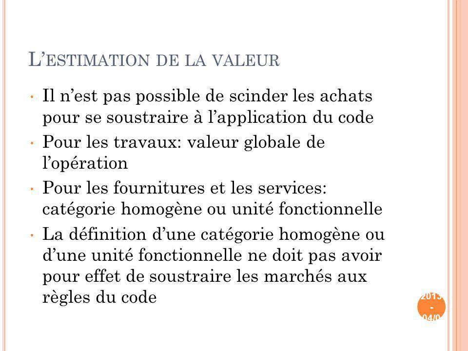 L ESTIMATION DE LA VALEUR Il nest pas possible de scinder les achats pour se soustraire à lapplication du code Pour les travaux: valeur globale de lop