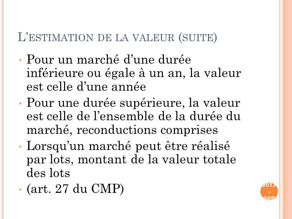 L ESTIMATION DE LA VALEUR ( SUITE ) Pour un marché dune durée inférieure ou égale à un an, la valeur est celle dune année Pour une durée supérieure, l