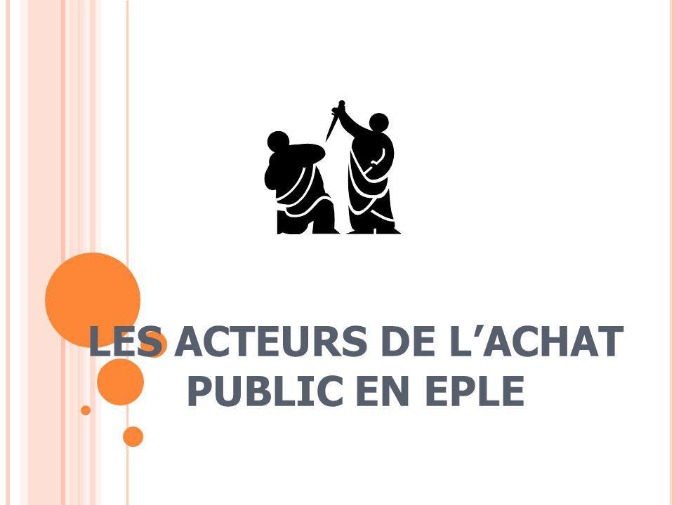 LES ACTEURS DE LACHAT PUBLIC EN EPLE
