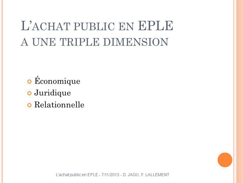 L ACHAT PUBLIC EN EPLE A UNE TRIPLE DIMENSION Économique Juridique Relationnelle L'achat public en EPLE - 7/11/2013 - D. JAGU, F. LALLEMENT