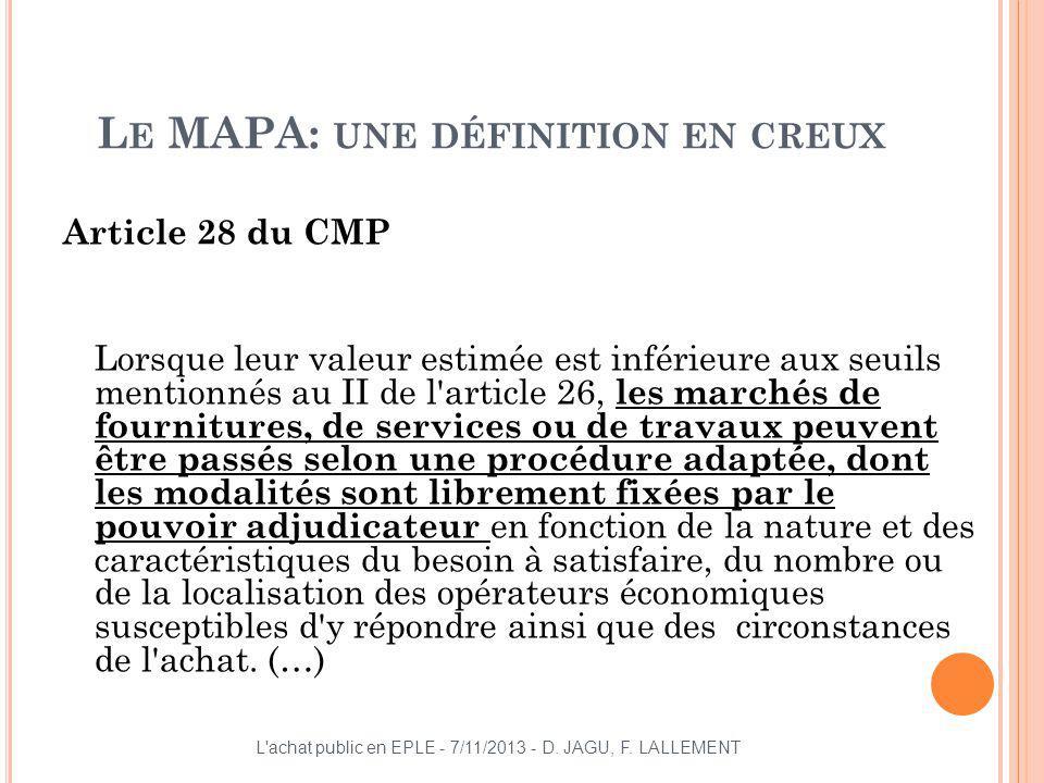 L E MAPA: UNE DÉFINITION EN CREUX Article 28 du CMP Lorsque leur valeur estimée est inférieure aux seuils mentionnés au II de l'article 26, les marché