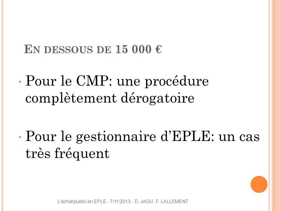 E N DESSOUS DE 15 000 Pour le CMP: une procédure complètement dérogatoire Pour le gestionnaire dEPLE: un cas très fréquent L'achat public en EPLE - 7/