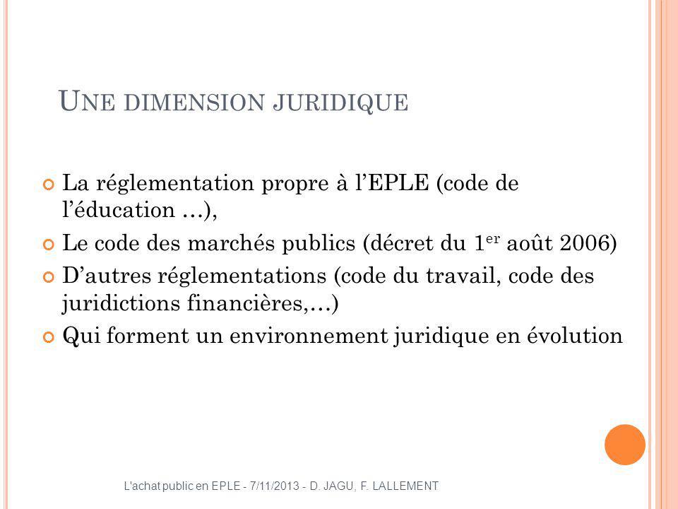 U NE DIMENSION JURIDIQUE La réglementation propre à lEPLE (code de léducation …), Le code des marchés publics (décret du 1 er août 2006) Dautres régle