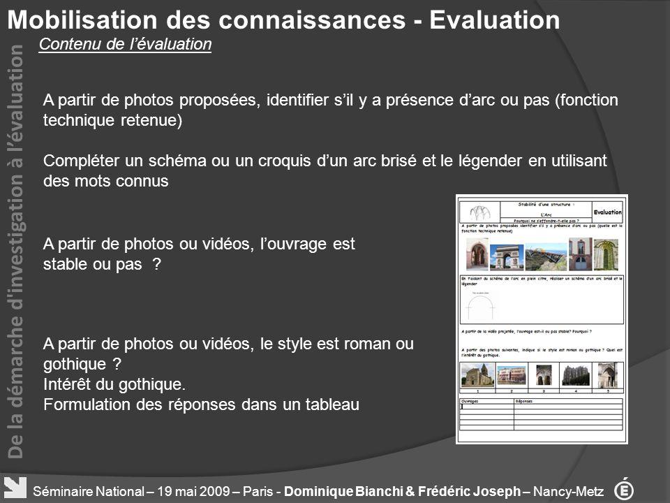 Mobilisation des connaissances - Evaluation De la démarche d'investigation à lévaluation A partir de photos proposées, identifier sil y a présence dar