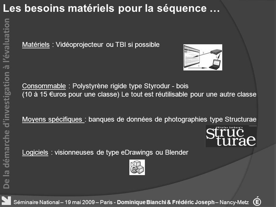 Les besoins matériels pour la séquence … De la démarche d'investigation à lévaluation Séminaire National – 19 mai 2009 – Paris - Dominique Bianchi & F