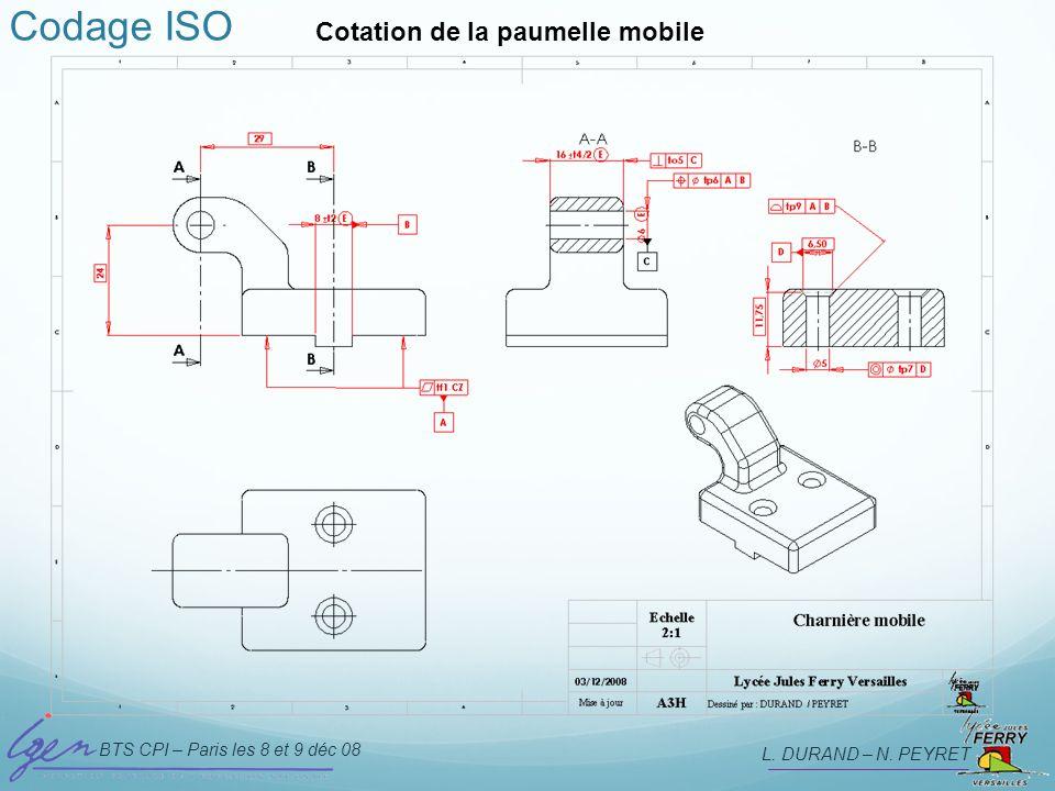 BTS CPI – Paris les 8 et 9 déc 08 L. DURAND – N. PEYRET Codage ISO Cotation de la paumelle mobile