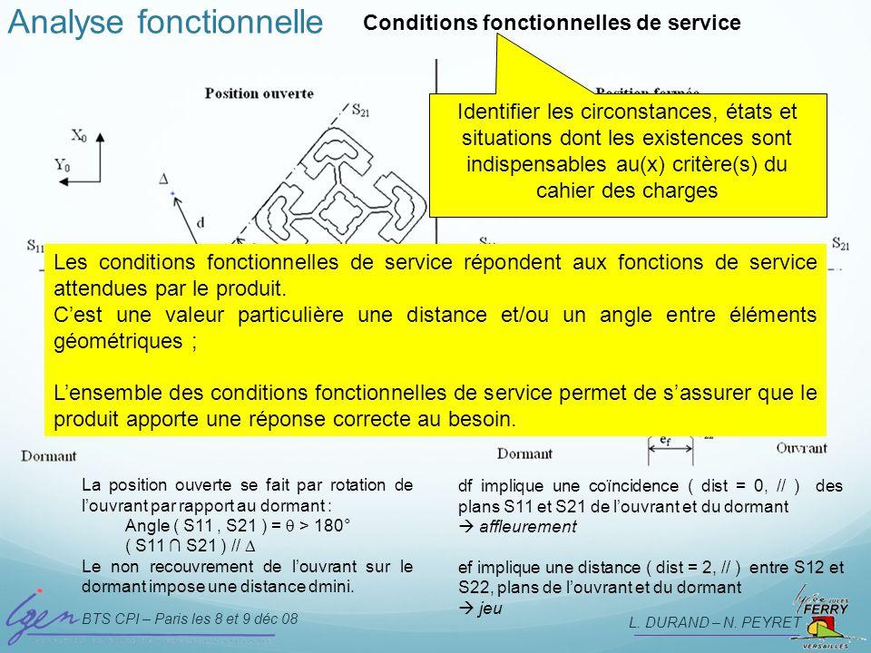BTS CPI – Paris les 8 et 9 déc 08 L. DURAND – N. PEYRET Analyse fonctionnelle Conditions fonctionnelles de service Identifier les circonstances, états