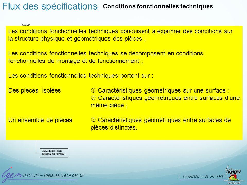 BTS CPI – Paris les 8 et 9 déc 08 L. DURAND – N. PEYRET Flux des spécifications Conditions fonctionnelles techniques Les conditions fonctionnelles tec