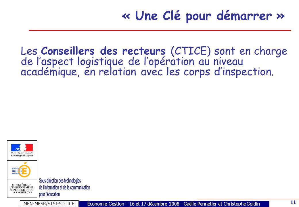 MEN-MESR/STSI-SDTICE 11 Les Conseillers des recteurs (CTICE) sont en charge de laspect logistique de lopération au niveau académique, en relation avec