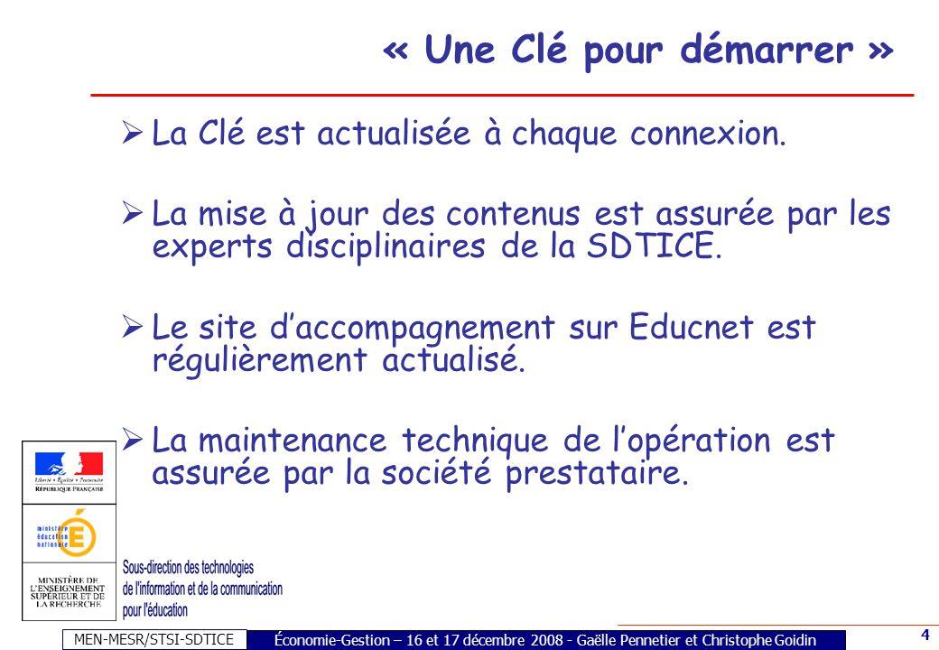 MEN-MESR/STSI-SDTICE 5 « Une Clé pour démarrer 2009 » Lespace Liens institutionnels regroupe les programmes scolaires de la discipline concernée et des sites d informations du ministère.