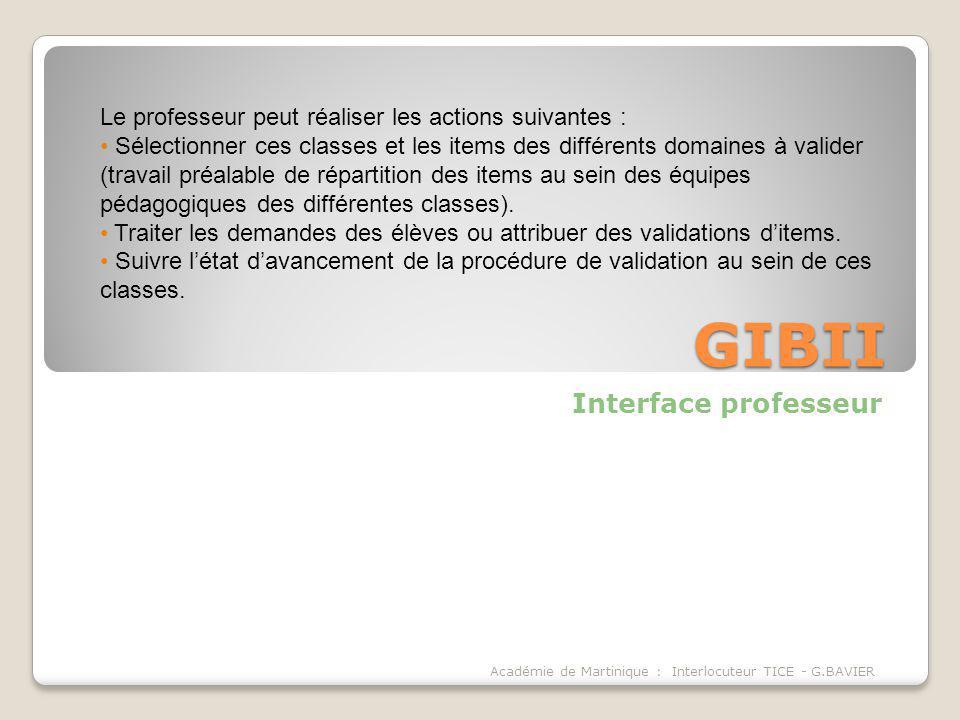 GIBII Interface professeur Académie de Martinique : Interlocuteur TICE - G.BAVIER Le professeur peut réaliser les actions suivantes : Sélectionner ces
