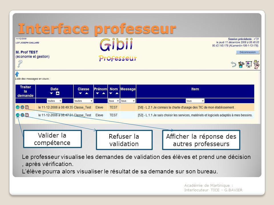 Interface professeur Académie de Martinique : Interlocuteur TICE - G.BAVIER Le professeur visualise les demandes de validation des élèves et prend une décision, après vérification.
