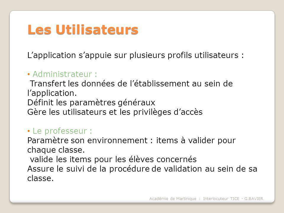 Académie de Martinique : Interlocuteur TICE - G.BAVIER Les Utilisateurs Lapplication sappuie sur plusieurs profils utilisateurs : Administrateur : Tra