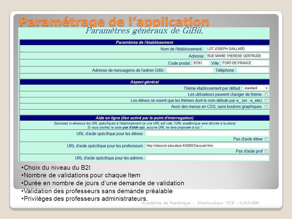 Paramétrage de lapplication Académie de Martinique : Interlocuteur TICE - G.BAVIER Choix du niveau du B2I Nombre de validations pour chaque Item Durée