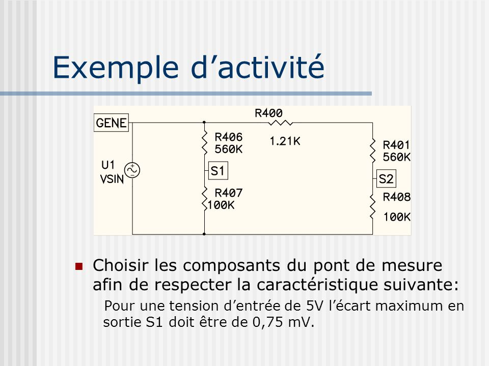 Exemple dactivité Choisir les composants du pont de mesure afin de respecter la caractéristique suivante: Pour une tension dentrée de 5V lécart maximu