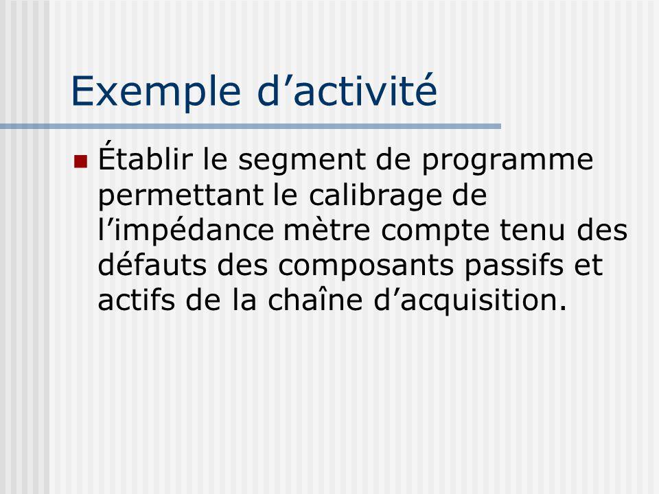 Exemple dactivité Établir le segment de programme permettant le calibrage de limpédance mètre compte tenu des défauts des composants passifs et actifs