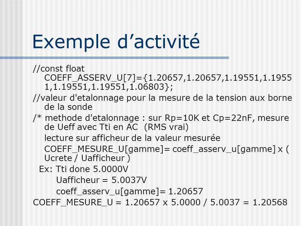 Exemple dactivité //const float COEFF_ASSERV_U[7]={1.20657,1.20657,1.19551,1.1955 1,1.19551,1.19551,1.06803}; //valeur d'etalonnage pour la mesure de