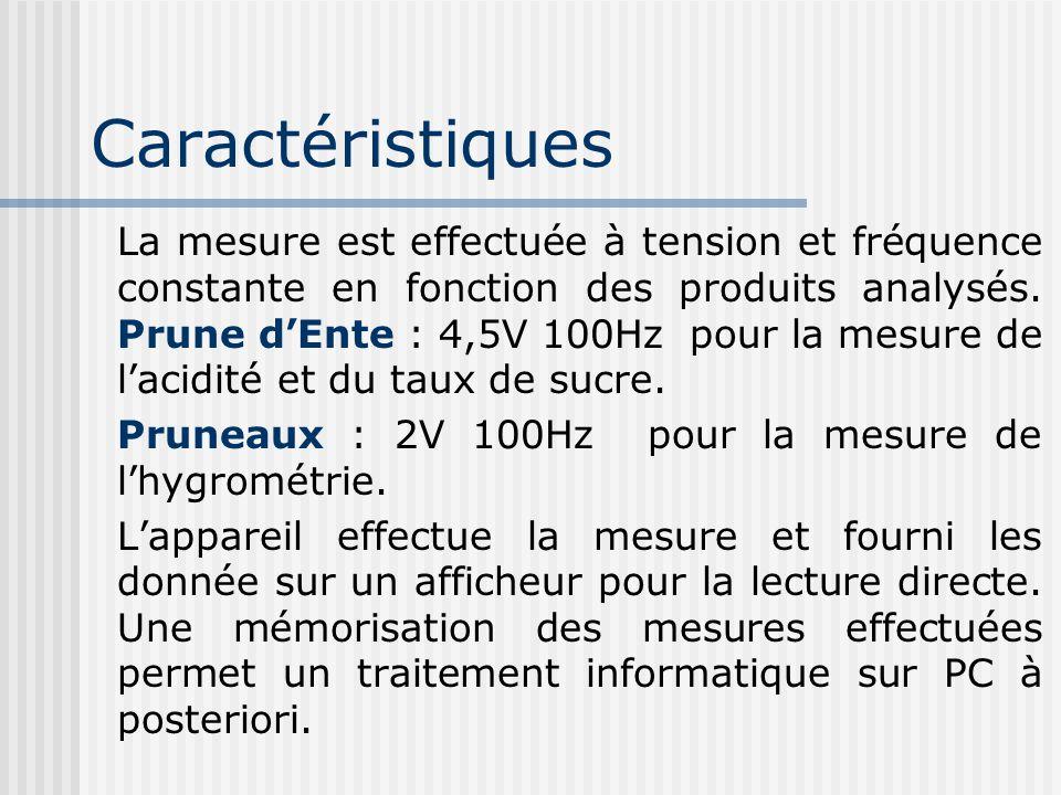 Caractéristiques La mesure est effectuée à tension et fréquence constante en fonction des produits analysés. Prune dEnte : 4,5V 100Hz pour la mesure d