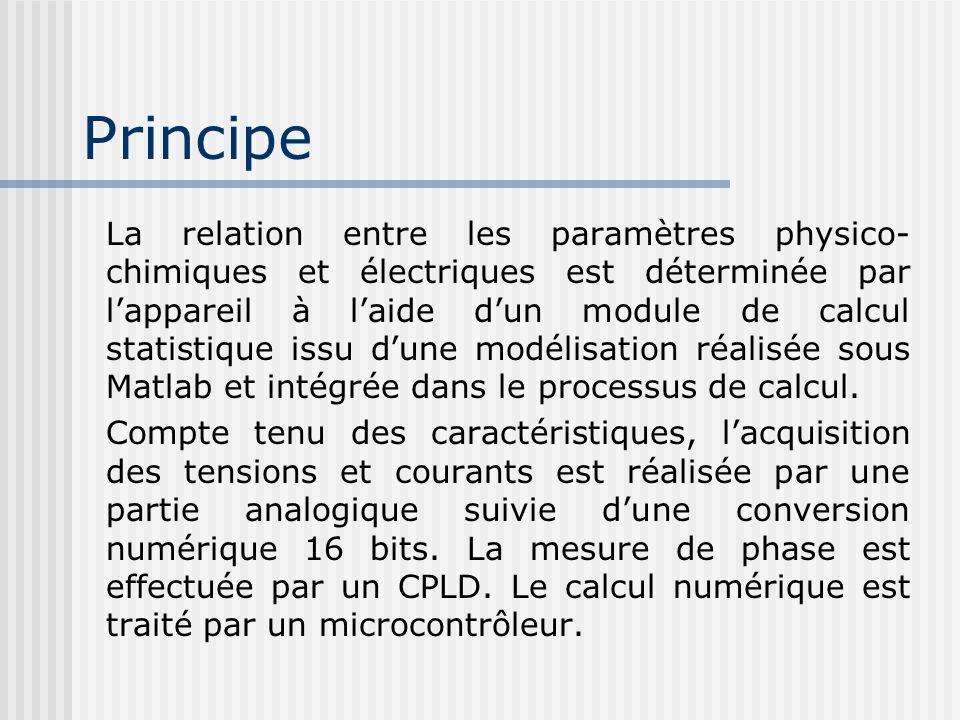 Principe La relation entre les paramètres physico- chimiques et électriques est déterminée par lappareil à laide dun module de calcul statistique issu
