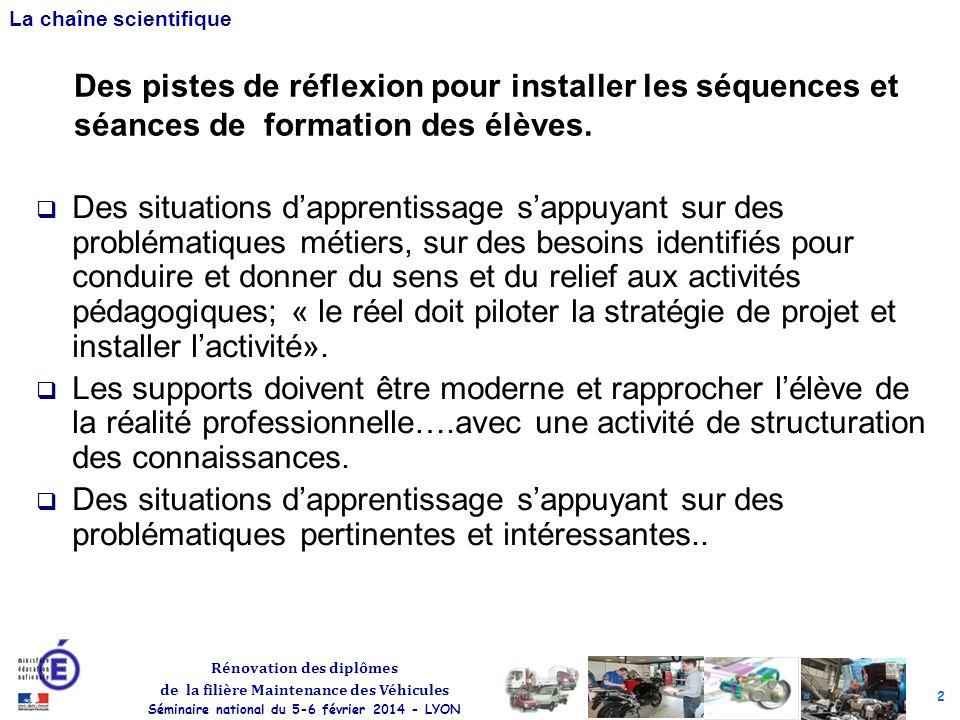 2 Rénovation des diplômes de la filière Maintenance des Véhicules Séminaire national du 5-6 février 2014 - LYON La chaîne scientifique Des situations